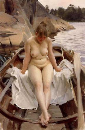 I Werner robåt, Anders Zorn, 40x60cm med brett