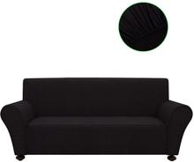 vidaXL Sofföverdrag med stretch svart polyesterjersey