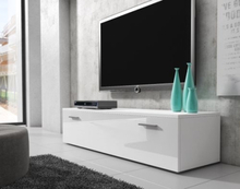 BOSTON TV-stall TV-Bank 150 cm matt ram Vit / Framsida Vit Hogglans