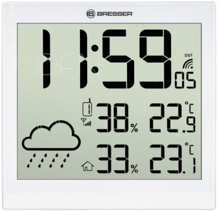 Bresser TemeoTrend JC white LCD Weather Wall Clock