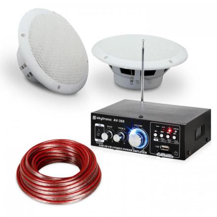 """Terrass & Badrum HiFi Förstärkare Speaker Sound Set 6,5"""" 4-tlg wvattentätt"""