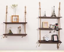 Wooden Hanging Shelf Swing Rope Floating Shelves 3 Tier Jute Rope Wall Display Rack(Dark Brown) 47%