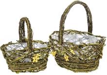 2st påsk vävda korgar m blommönster o handtag - påsk