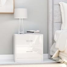 vidaXL Sängbord vit högglans 40x30x40 cm spånskiva