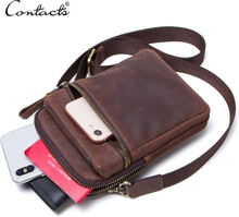 CONTACT'S 100% genuine leather men waist pack for cell phone shoulder bag travel pouch small crossbody bags card holders bolsas