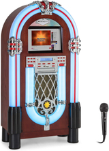 "Graceland Touch jukebox 12"" touch-panel WLAN, CD, BT, mikrofon, trä-look"