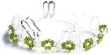Green & White Beaded Clear Bra Straps