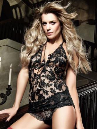 Baci Lingerie - Sort halterneck-kjole af blonder