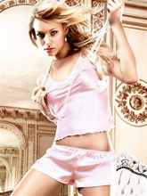 Baci Lingerie - Rosa satinbluse med french knickers