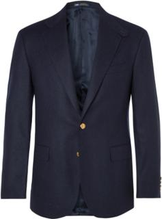 Navy Slim-fit Brushed-wool Twill Blazer - Navy