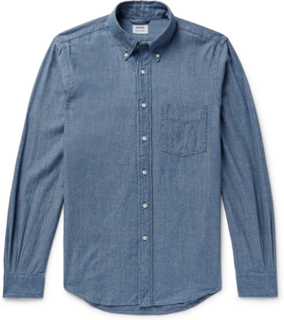Slim-fit Button-down Collar Cotton-chambray Shirt - Blue