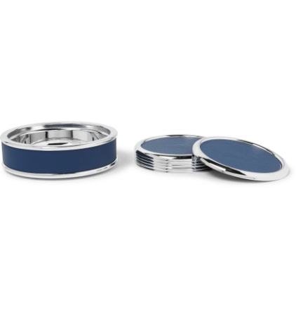 Silver-tone And Full-grain Leather Coaster Set - Navy