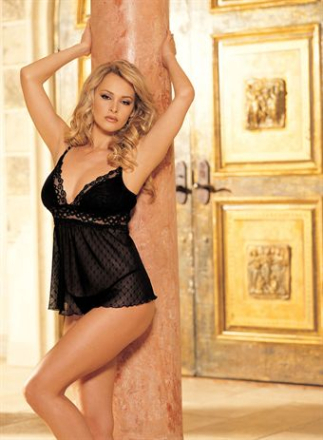 HOT Lingerie Snowflake Patterned Stretch Helenka Mesh Stretch Lace Baby Doll Black