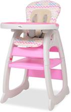 vidaXL 3-i-1 Konvertibel barnstol med bord rosa