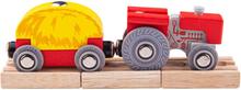 Bigjigs Rød Traktor Og Vogn til træ togbane