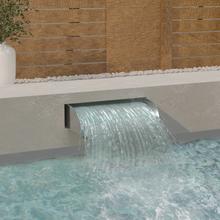 vidaXL havespringvand med LED-lys 60x34x14 cm rustfrit stål 304
