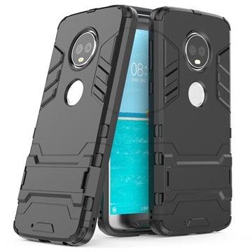 Motorola Moto G6 Plus Hybrid Cover med Kickstand - Sort