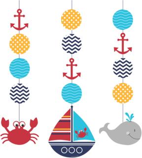 Min lilla sjöman - 3 hängande dekorationer One-size
