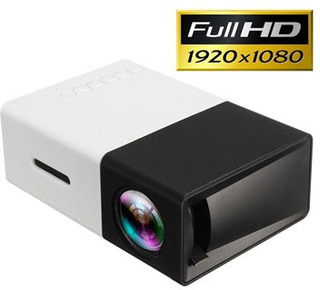 Mini Transportabel Full HD LED Projektor YG300 - Sort / Hvid