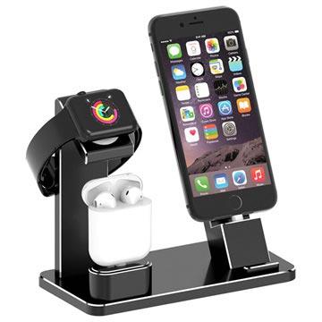 3-i-1 Opladningsstativ HJZJ001 - iPhone, Apple Watch, AirPods - Sort