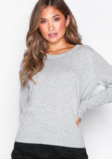 Selected Femme Slfaya Cashmere Ls Knit O-Neck Noos Lys grå