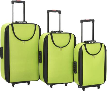 vidaXL Mjuka resväskor 3 st grön oxfordtyg
