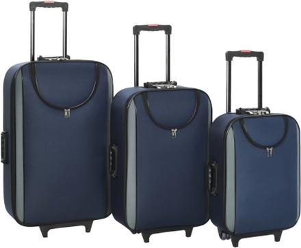 vidaXL Mjuka resväskor 3 st marinblå oxfordtyg