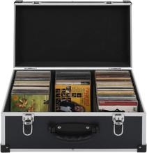 vidaXL CD-koffert for 60 CD-er aluminium ABS svart