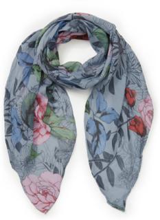 Blommig scarf från Peter Hahn blå