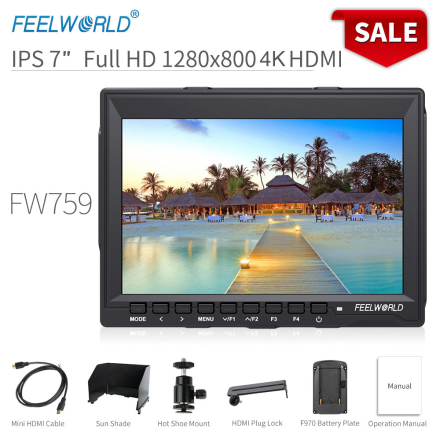 Feelworld FW759 7 inch DSLR Camera Field Monitor 4K HDMI AV Input IPS HD 1280x800 LCD Display Video Assist for Sony Nikon Camera