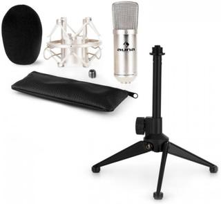 CM001S Mikrofon-Set V1 - silverfärgad studio-mikrofon med spindel & bordsstativ