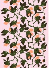 Mielitty puuvillakangas vaaleanpunainen-tummanvihreä