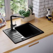 vidaXL køkkenvask enkelt vask granit sort