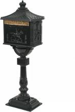 vidaXL Postlåda på stolpe vintage stil rostfri aluminium grön
