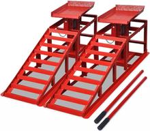 vidaXL Ramper för bilreparation 2 st röd stål