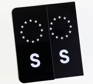 S-Märke Nummerskylt Svart/Vit/Vit