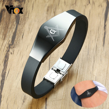 Vnox Men's Stylish Masonic Black Silicone Bracelets with Anti Allergy Stainless Steel Custom Engrave ID Tag Jewelry