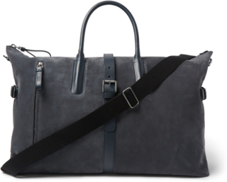 Leather-trimmed Suede Holdall - Blue