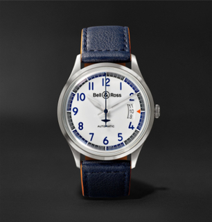 Br V1-92 Racing Bird Limited Edition Automatic 38.5mm Stainless Steel And Leather Watch - White