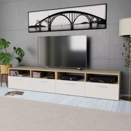 vidaXL TV-bänk 2 st spånskiva 95x35x36 cm ek och vit