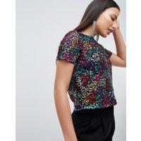 ASOS DESIGN - T-shirt med paljetter - Flerfärgad