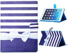 "iPad Air ""Navy Stripes"" Etui m. Kortholder & Ståfunktion Blå / Hvid / Lyseblå"