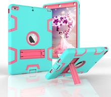 iPad Air Håndværker Cover - Armor Defender Cover m. Fod Lysegrøn / Pink