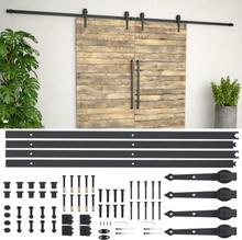 vidaXL Skjutdörrsbeslag 2x183 cm stål svart