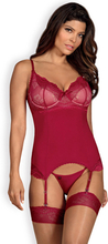 Obsessive Rosalyne Corset & Thong Red L/XL seksikkäät alusvaatteet