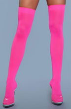 BeWicked Thigh High Nylon Stockings Neon Pink One Size Rosa Stay Ups