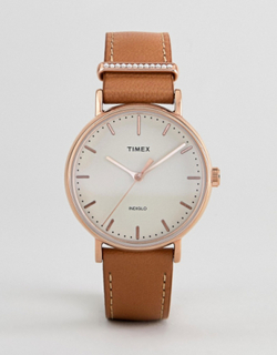 Timex TW2R70200 Fairfield Leather Watch In Tan - Tan