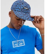 Obey Bowen leopard print 6 panel cap in blue - Sky blue