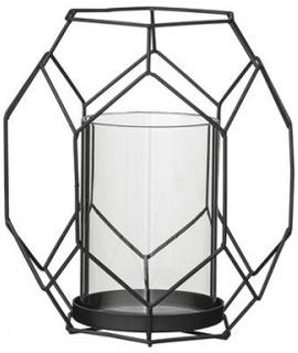 Ljuslykta BLOOMINGVILLE - Svart - Höjd 17 cm