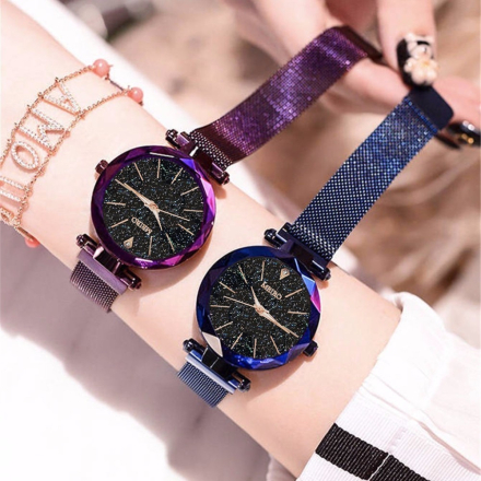 Best Selling Women Mesh Magnet Buckle Starry Sky Watch Casual Luxury Ladies Geometric Surface Quartz Watches Relogio Feminino